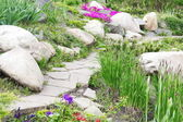 Garden Design with Rocks and Flowers (2) — Foto de Stock
