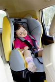 Baby Girl Sleeping in Car Seat — Stock Photo