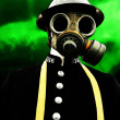 Policeman With Gasmask - Stock Photo