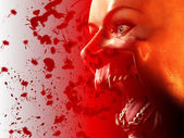Bloody Vampire Mouth — Stock Photo