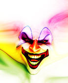 Evil Skin Face Clown — Stockfoto