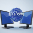 Monitors with blue earth — Stock Photo