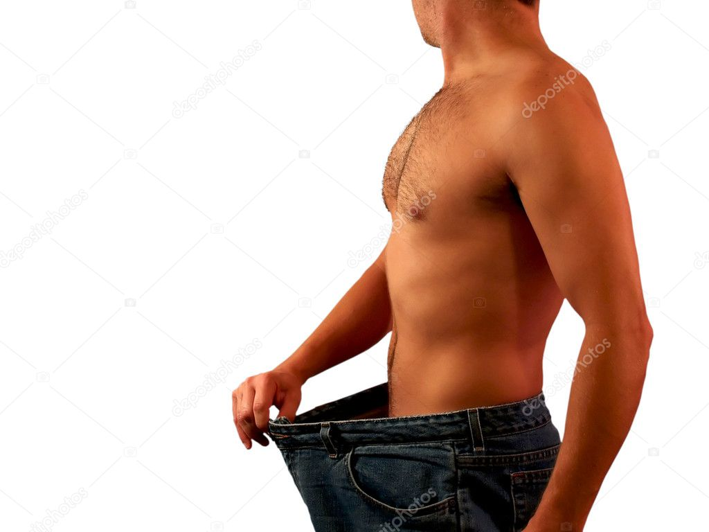 Shirtless in shape man standing wearing really large pants that once fit him when he was much fatter, admiring his weight loss progress. — Stock Photo #3483481