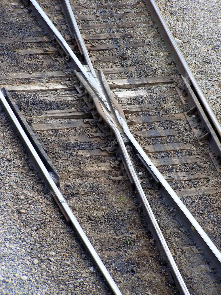 Detail of railroad switch with rails, ties and gravel  Stock Photo #3484497