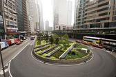 Cars passing a u turn road — Stock Photo