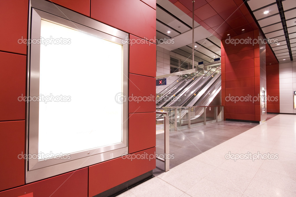 It is a advertisement blank in a modern building — Stock Photo #3042900
