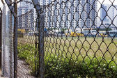 Metal barbed wire fence protection — Stock Photo