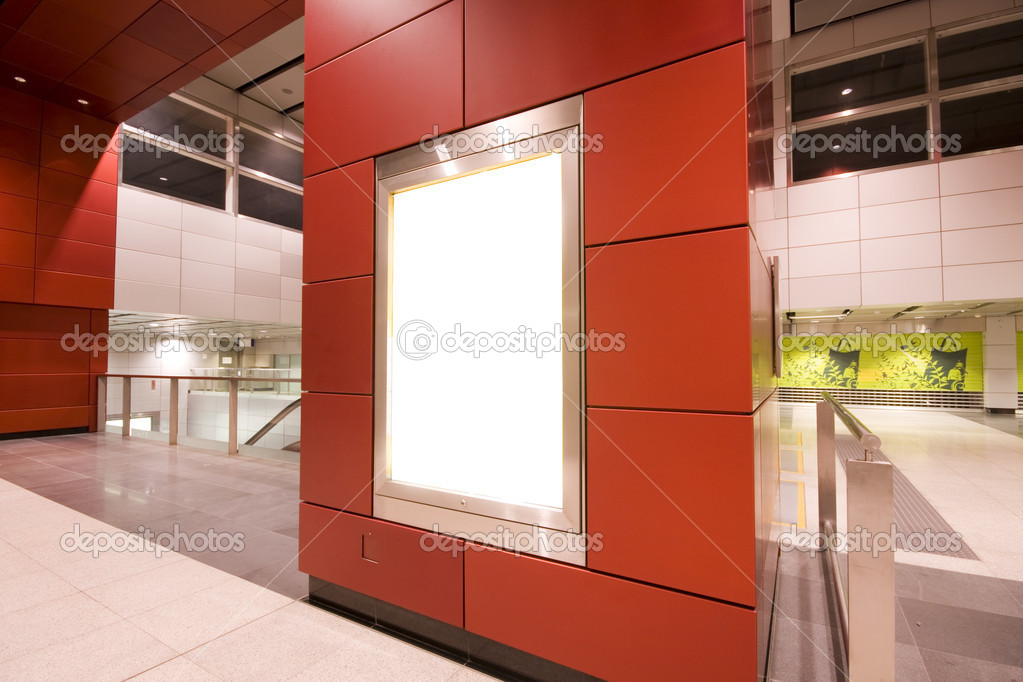 It is a advertisement blank in a modern building — Foto Stock #3056117