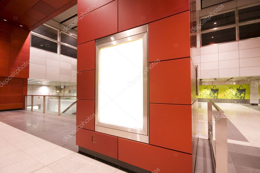 It is a advertisement blank in a modern building  Stockfoto #3056117