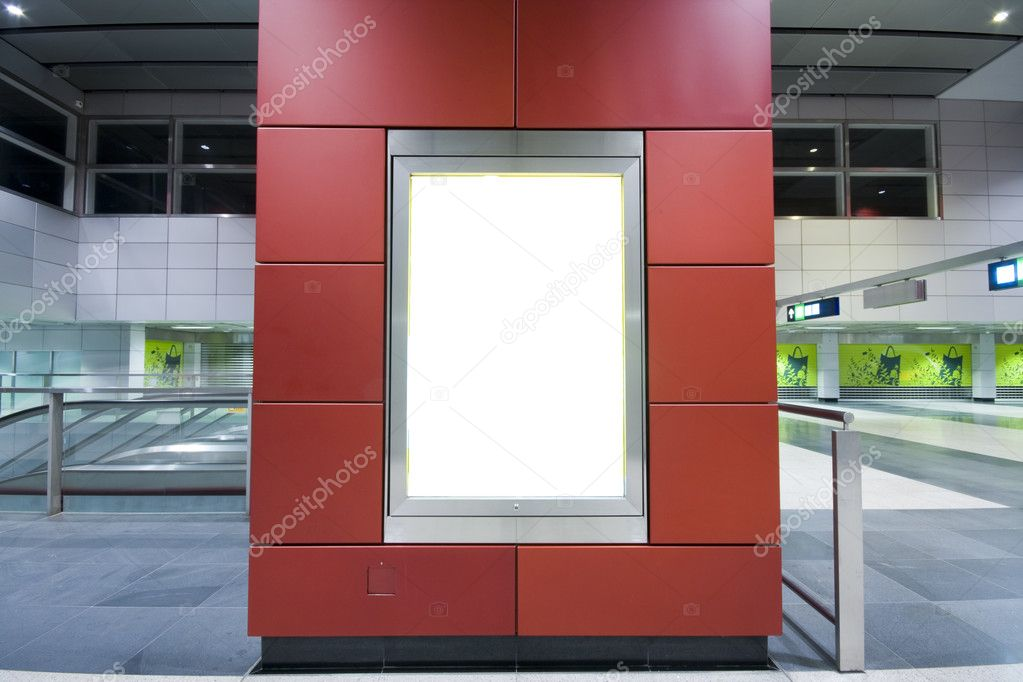 It is a advertisement blank in a modern building — Stock Photo #3079853