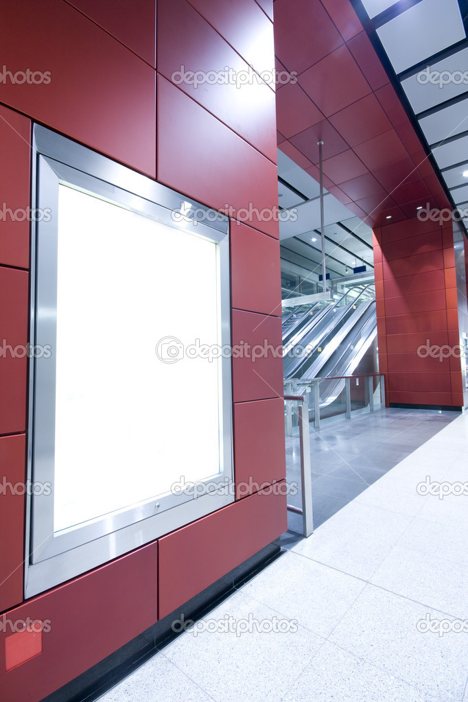 It is a advertisement blank in a modern building  Stock Photo #3139282