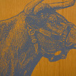 Bull on a Fence Background — Stock Photo #3424130