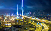 Hong Kong Bridge of transportation at night — Stock Photo
