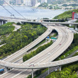 Aerial view of complex highway interchange in HongKong - Stock Photo