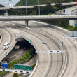 Aerial view of complex highway interchange in HongKong — Stock Photo