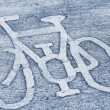 Stock Photo: Bicycle road sign.