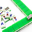 Mahjong tiles aligned and two dices — Stock Photo