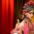 Chinese opera dummy and red cloth as text space — Stock Photo
