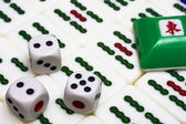 Mahjong - asian game with dices — Stock Photo