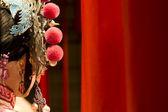 Panno rosso e fittizio di opera cinese come spazio testo — Foto Stock