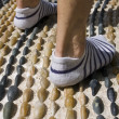 Walking on reflexology path — Stock Photo