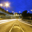 Modern Urban City with Freeway Traffic at Night, — Stock Photo