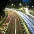 Modern Urban City with Freeway Traffic at Night — Stock Photo