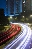 Traffic in city at night in hong kong — Foto de Stock