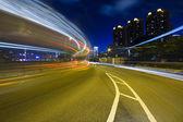Traffic highway in Hong Kong at night — Stock Photo
