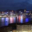 skyline de l'île de Hong kong dans la nuit — Photo