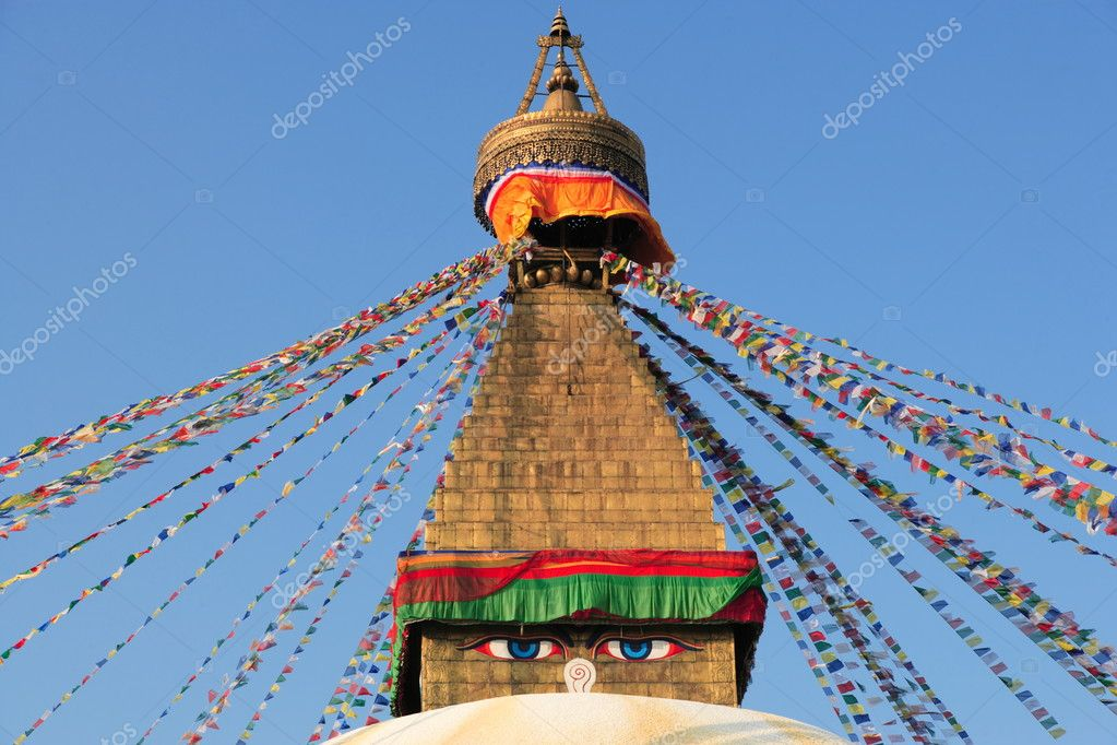 Top of buddhistic stupa in Kathmandu — Stock Photo #2936510