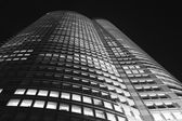 Tokyo skyscrapper at night bw — Stock Photo