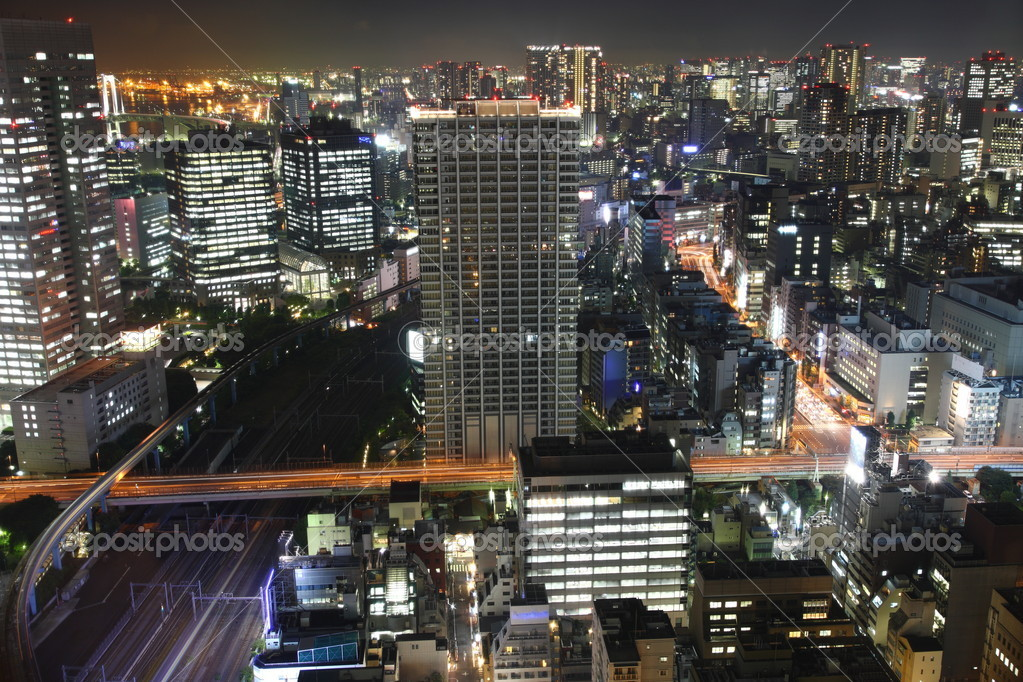 Tokyo streets, tracks and skyscrapers at night from high above  Stock Photo #3635206