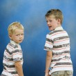 Two boys looking back — Stock Photo
