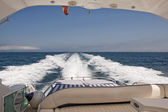 View from back of power boat — Stock Photo