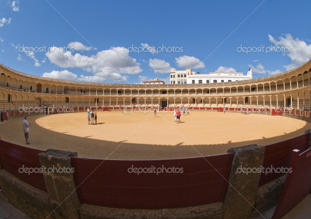 Ronda Bullring on a sunny day Spain with fisheye lens — Stock Photo #2861803