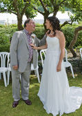 Bride and her Father in the Garden — Stock Photo