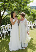 Bride and her Mother in the Garden — Stock Photo