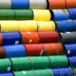 Stock Photo: Stacked oil barrels