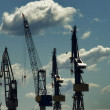 Docking cranes at harbor — Stock Photo