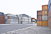 Stacked containers in an industrial area — Stock Photo
