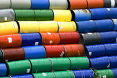 Stacked oil barrels — Stock Photo