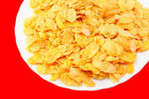 Crispy corn flakes on a plate — Stock Photo