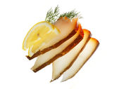 Halibut fish with lemon — Stock Photo