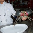 Big alive crab on kitchen of the restaurant - Stock Photo