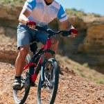 Mountain biker downhill on desert canyon — Stock Photo