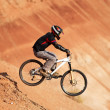 Stock Photo: Extreme biker in red canyon