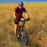 turista di moto in campo giallo accanto al lago — Foto Stock