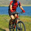 Bike tourist on green field beside lake — Stockfoto