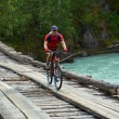 Mountain biker on wooden bridge — Stock Photo
